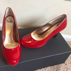 Sofft Red Patent Leather Pumps Heels Size 8